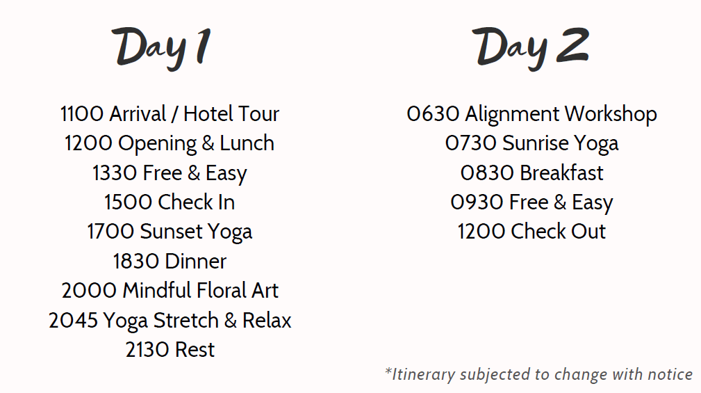 retreat itinerary